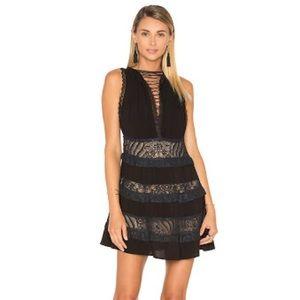 Lightly worn black ruffles lace dress.